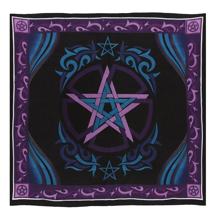 Blue and Purple Altar Cloth with Pentagram