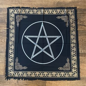 Black and Gold Pentagram Altar Cloth 65 cm x 65 cm