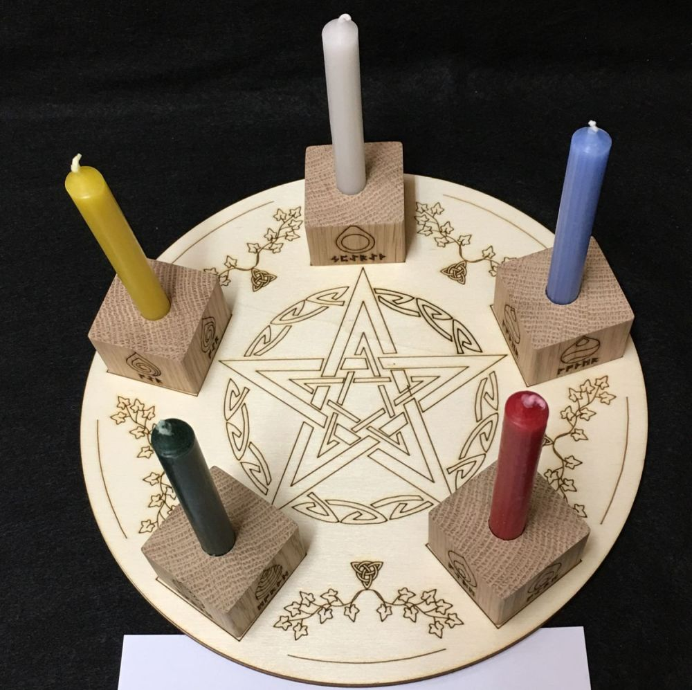 Handcrafted Fancy Altar Board with Pentagram and Elements Candle Holders