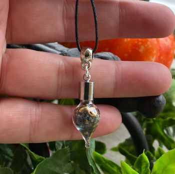 Hand Crafted Witches Black Salt and Tiger Eye Protection and Good Luck Pendant