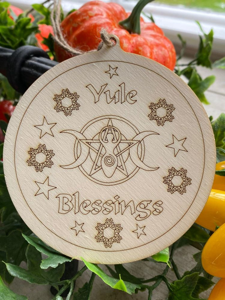 Hand Crafted Yule Blessings Wooden Decoration