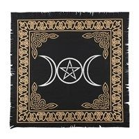 Black and Gold Triple Moon Altar Cloth 65 cm x 65 cm
