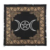 Black and Gold Triple Moon Altar Cloth 65 cm x 65 cm