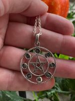Moon Phase and Pentagram 925 Sterling Silver Pendant