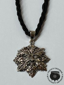 Green Man 925 Sterling Silver Pendant with cord.