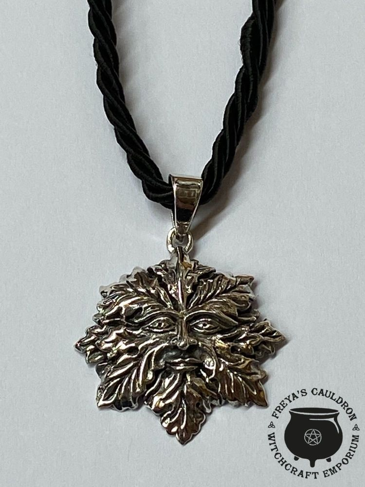 Green Man 925 Sterling Silver Pendant with cord and gift box