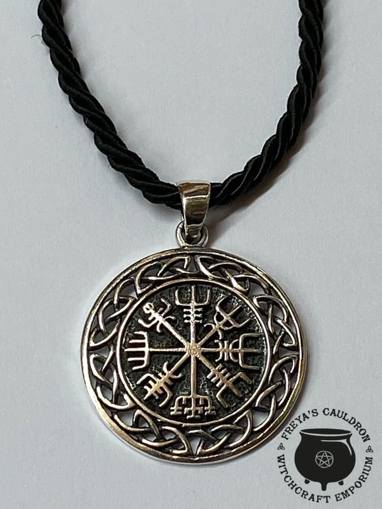 Viking Compass 925 Sterling Silver Pendant with cord and gift box