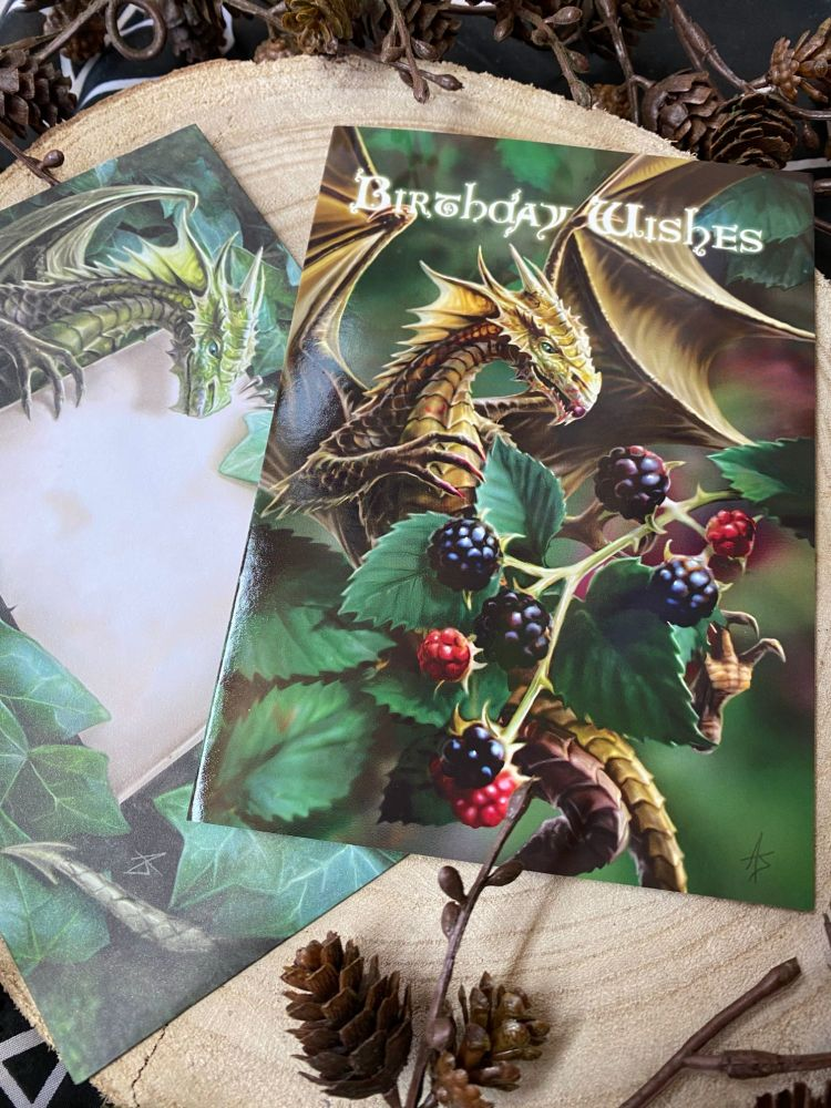 Stunning Dragon and Blackberries Birthday Card by Anne Stokes