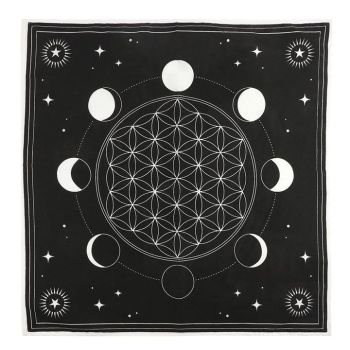 Moon Phase Crystal Grid Altar Cloth 70 cm x 70 cm