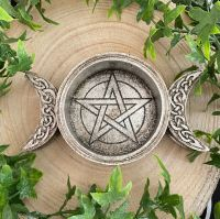 Triple Moon Altar Dish or Candle Holder by Alchemy England