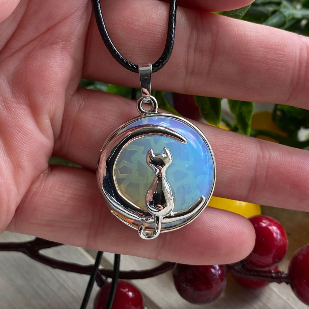 Opalite Cat and Moon Pendant with cord