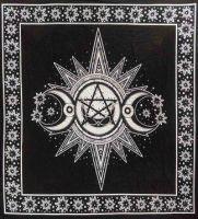 Sun, Triple Moon and Pentagram Altar Cloth ~ Black and White