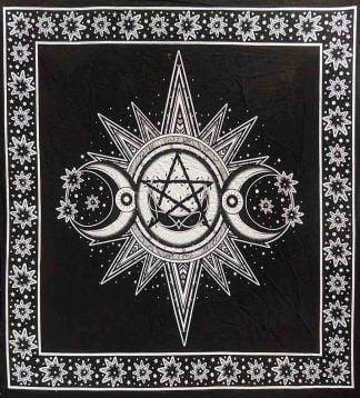 Sun, Triple Moon and Pentagram Altar Cloth ~ Black and White ~ 102 x 102 cm