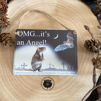 """OMG .. its An Angel ..."" Miniature Metal Sign by Alchemy"
