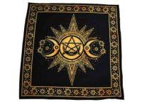 Sun, Triple Moon and Pentagram Altar Cloth ~ Yellow