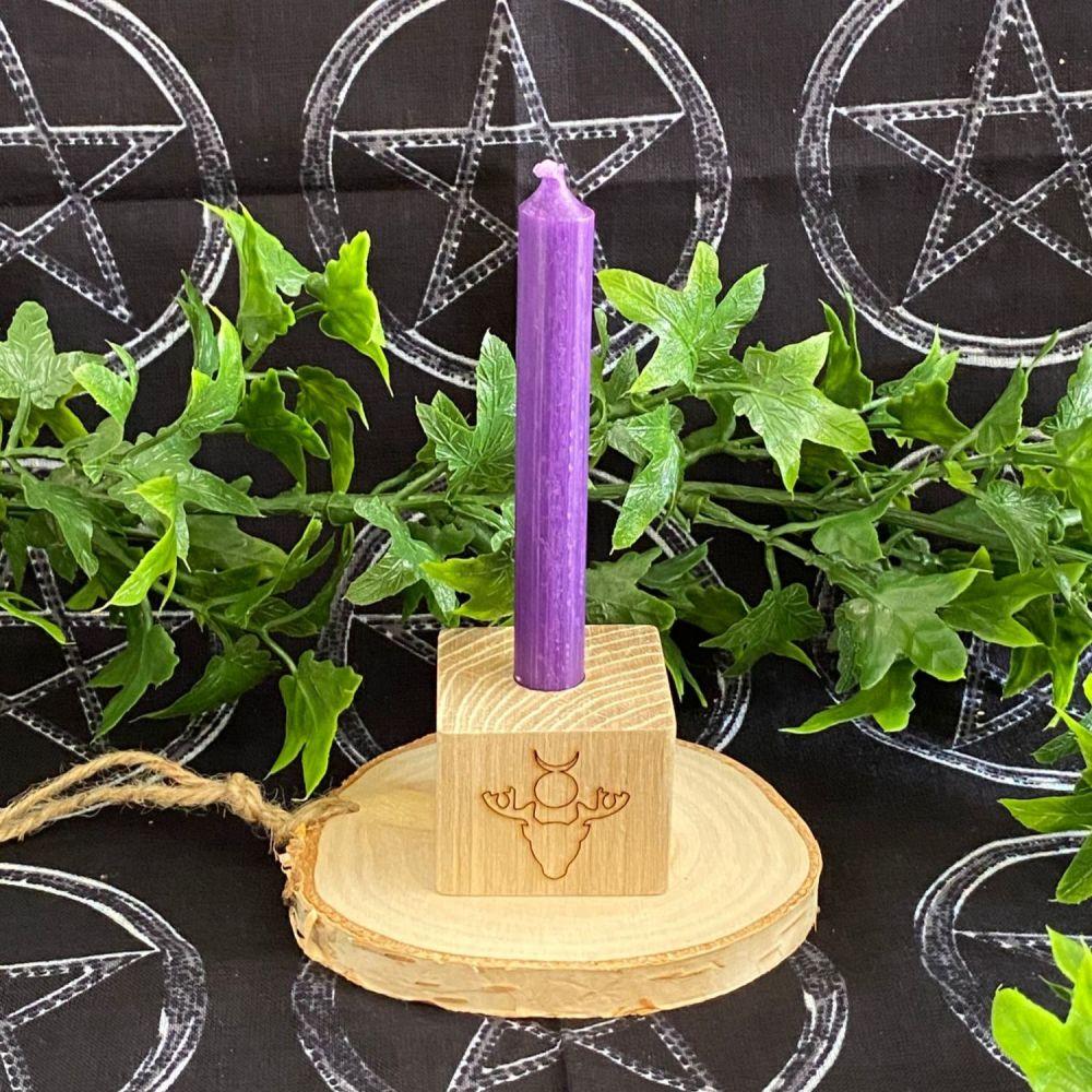 God (Horned God)  Oak Candle Holder