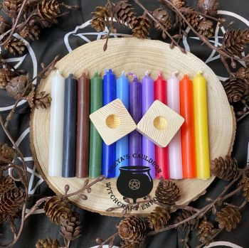 12 Spell Candles (10cm) in 12 colours incl 2 Candle Holders