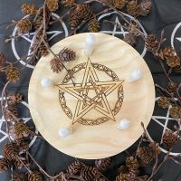A Rustic Hand Crafted Wooden Spell Casting Plate with Celtic Pentagram