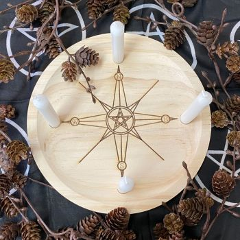 A Rustic Hand Crafted Wooden Spell Casting Plate with Compass and Pentagram