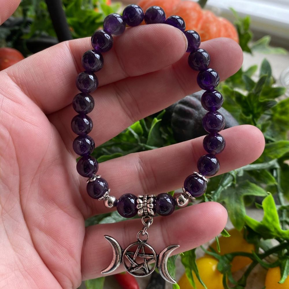 Amethyst  Crystal Bracelet with Triple Moon Charm