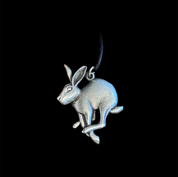 Hare Pewter Pendant with Black Cord Necklace
