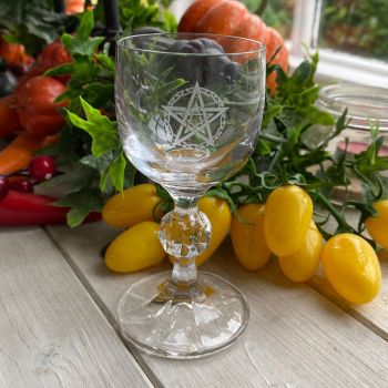 Cut Glass Crystal Chalice ~ Celtic Pentagram