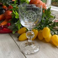Cut Glass Crystal Chalice ~ Runic Pentagram ~ pre order available