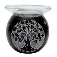 Tree of Life Soapstone Oil Burner ~ Black with free oil