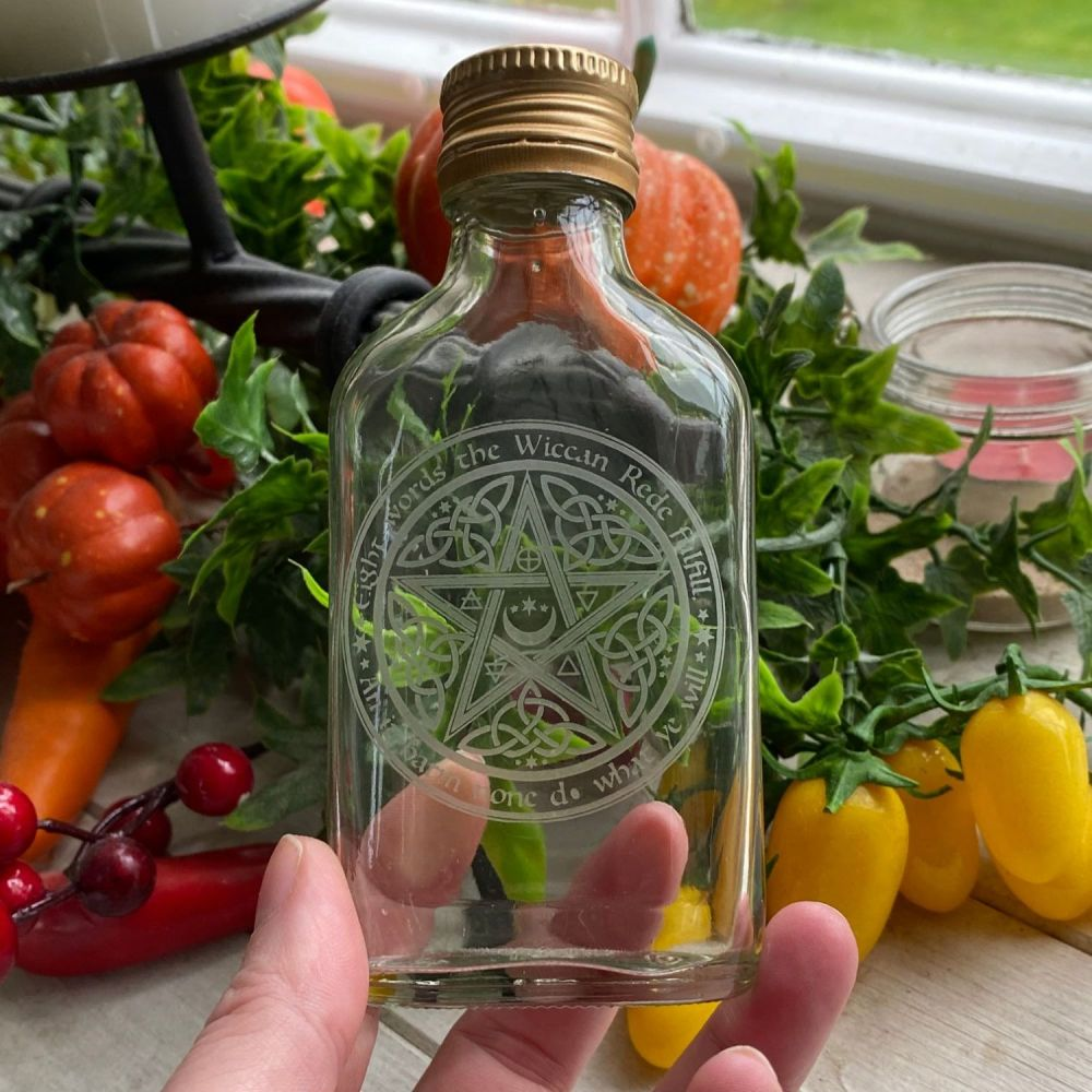 Glass Potion Bottle ~ Wiccan Rede Pentagram