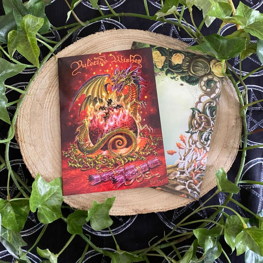 Flaming Dragon Pudding ~ Christmas Card by Briar