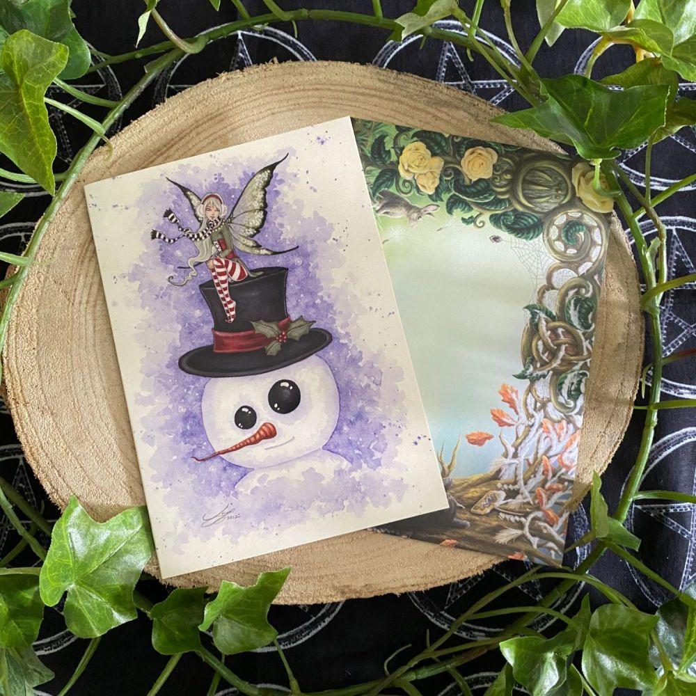 Frosty Friend  Yule Card by Amy Brown