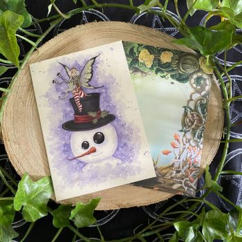 Frosty Friend  Yule Card by Amy Brown
