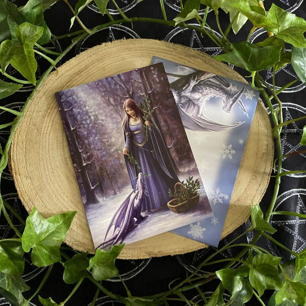 Solstice Gathering ~  Yule Card by Anne Stokes