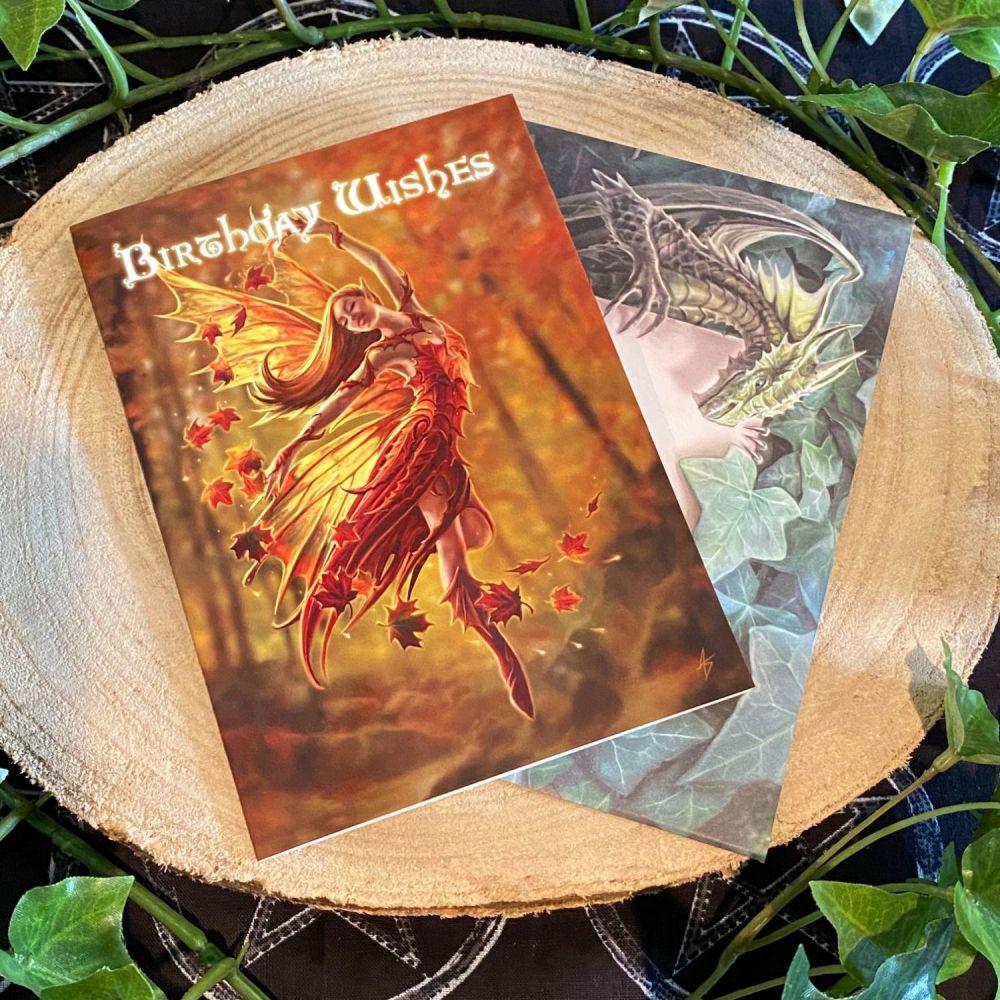 Autumn Fairy Birthday Card by Anne Stokes
