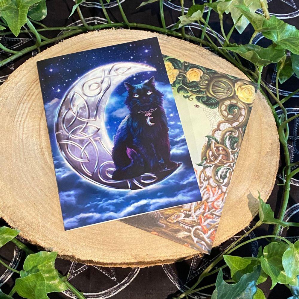 Celtic Black Cat ~ Greeting Card by Brigid Ashwood