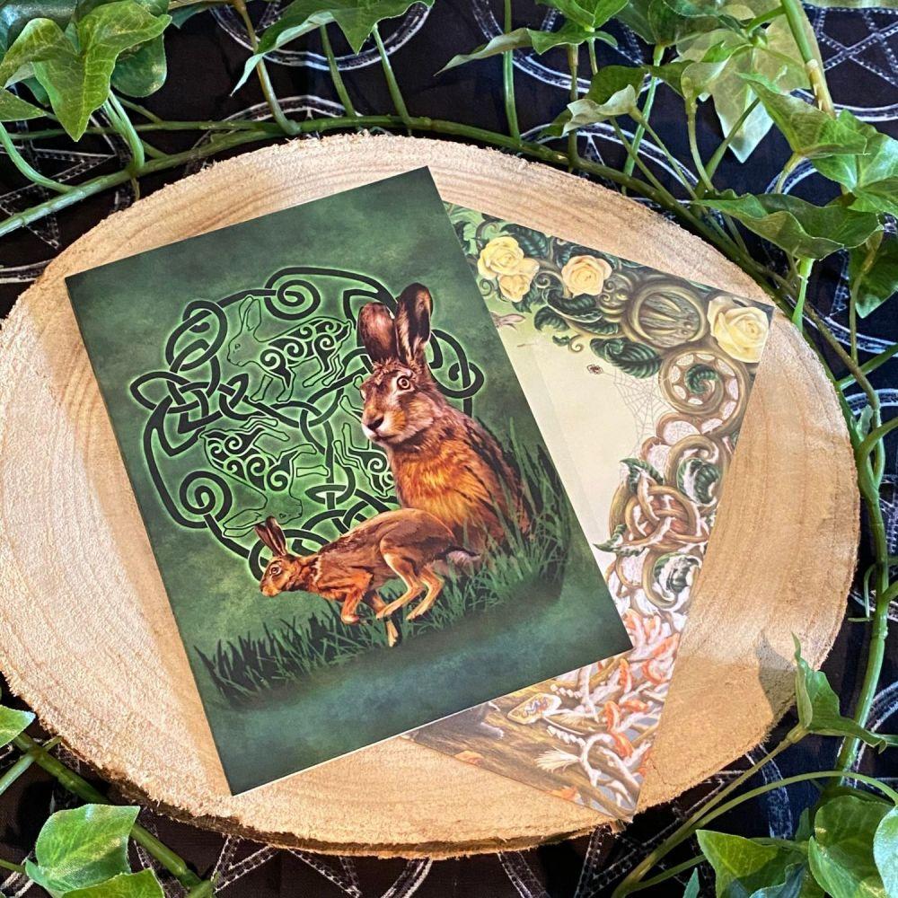 Celtic Hare ~ Greeting Card by Brigid Ashwood