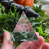 Crystal Pyramid with etched Pentagram