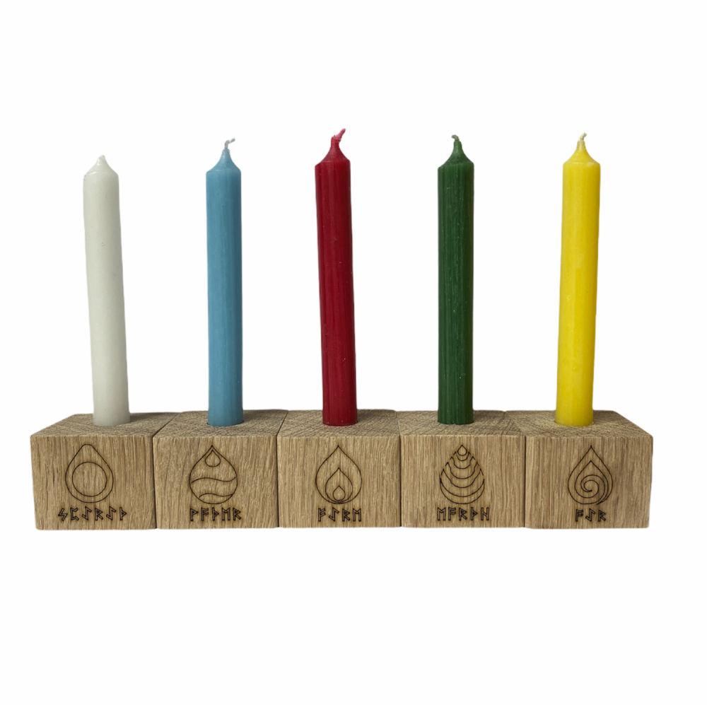 Oak Candle holders with Runic Elements Symbols
