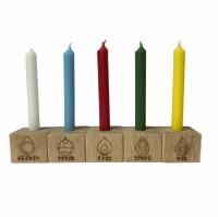 Oak Candle holders with Runic Elements Symbols ~ Set of 5
