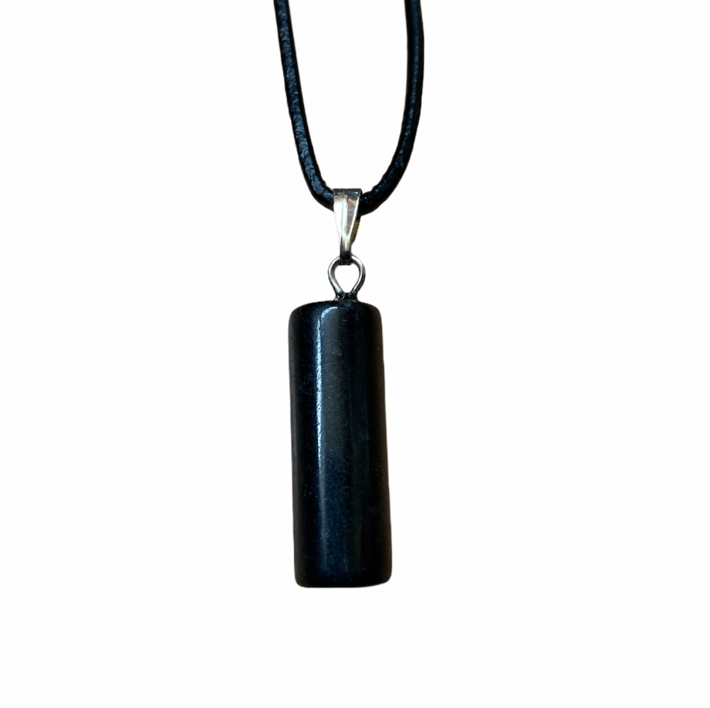 Black Onyx Cylinder Pendant with black cord