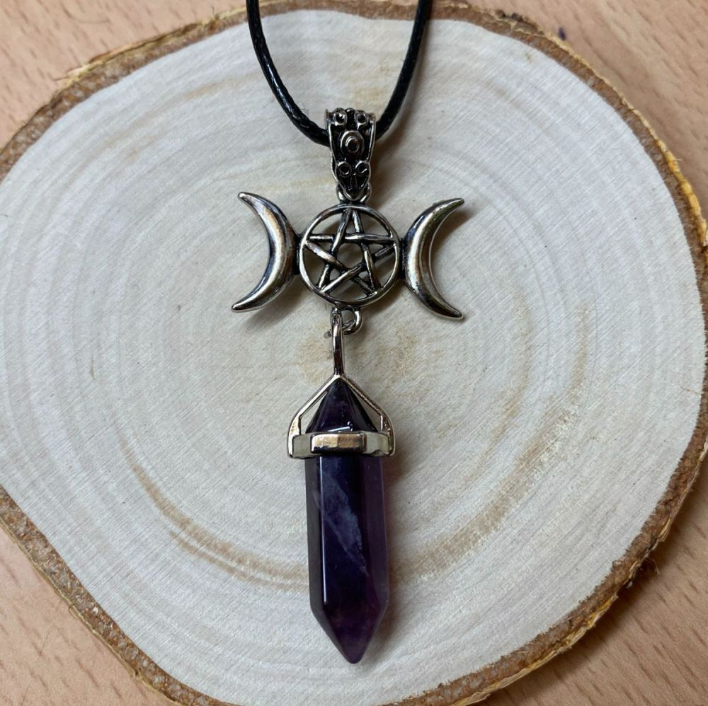 Amethyst Point and Triple Moon Pendant