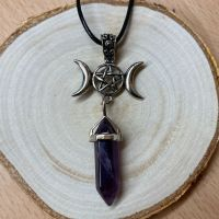 Triple Moon Pendant with Amethyst Point