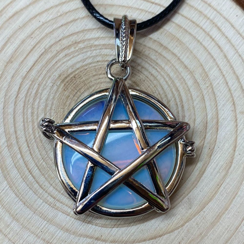 Pentagram Locket Pendant with Opalite Crystal and Black Cord Necklace