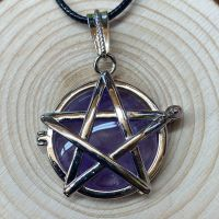 Pentagram Locket Pendant with Amethyst Crystal and Black Cord Necklace