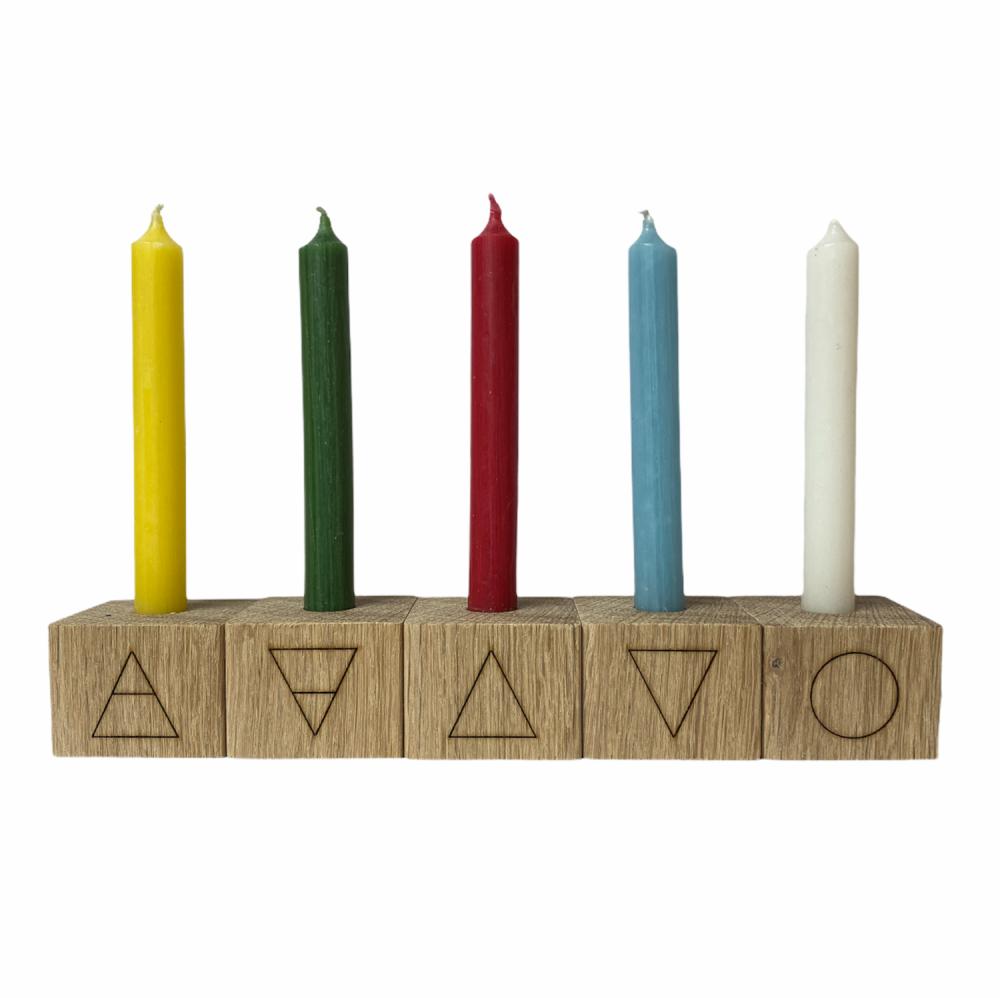 Oak Elemental Candle holders with Elements Symbols