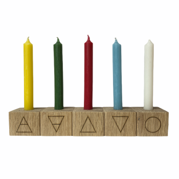 Oak Elemental Candle holders with Elements Symbols