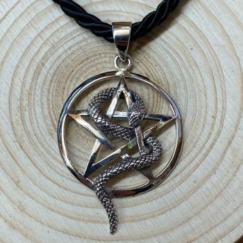 Pentagram and Snake 925 Sterling Silver Pendant with Cord Necklace