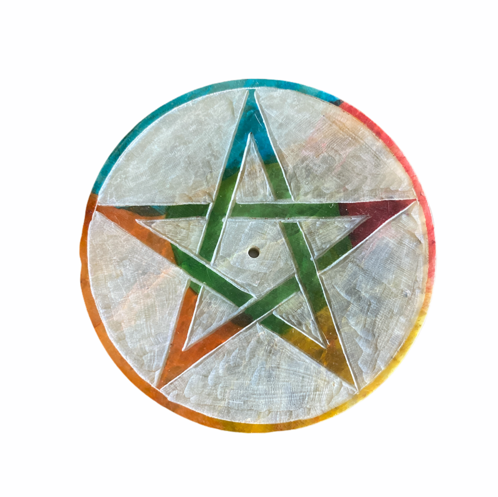 Soapstone Round Incense Stick Plate with Pentagram
