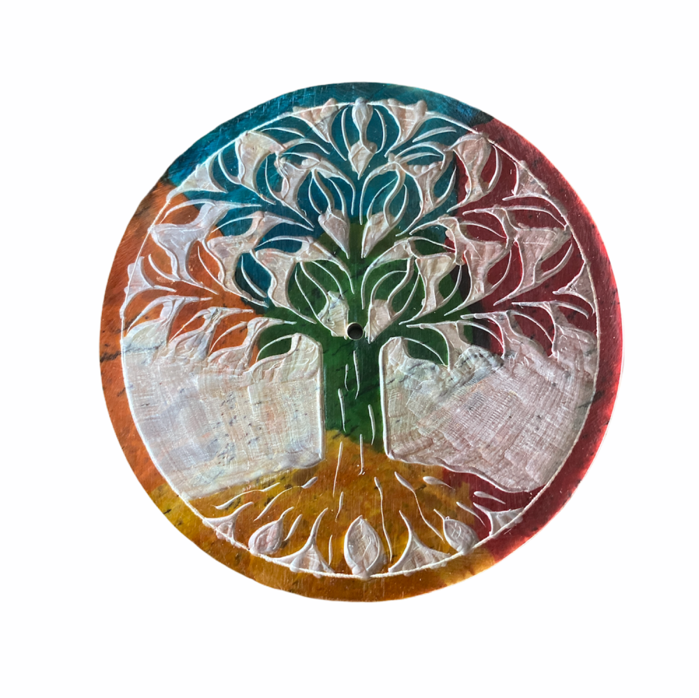 Soapstone Round Incense Stick Plate with Tree of Life