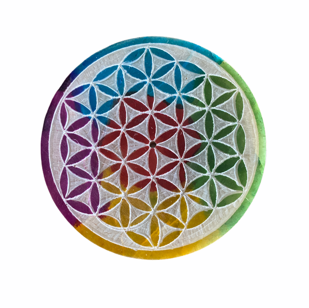 Soapstone Round Incense Stick Plate with Flower of Life Grid